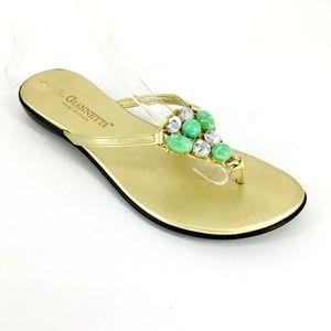 A.Giannetti Jeweled Thongs Flip Flops